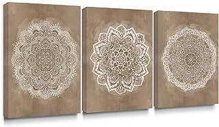 SUMGAR - Cuadro decorativo para pared con diseño de mandala indio sobre lienzo, 30 x 40 cm, 3 unidades
