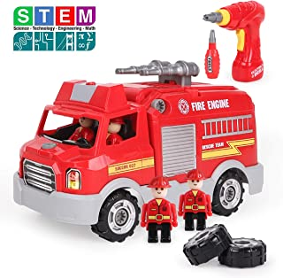 REMOKING STEM Educational Take Apart Vehicle Toys,32Pcs Fire Engine Set with Electric Drill&Lights&Sounds,Best  Boys and G...