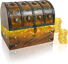 IOTC Kids Pirate Treasure Chest Made of Solid Wood Medium Antique Storage Decorative Loot Chest Pirate Party, 8 x 6 x 6