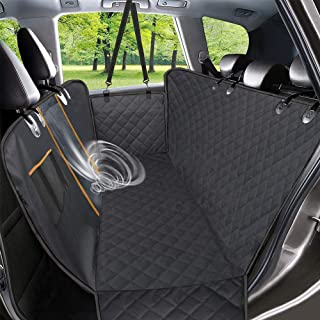 Dog Car Seat Cover, Waterproof Pet Seat Cover with Mesh Visual Window & Seat Belt Opening & Storage Pockets, Wear-Proof Do...