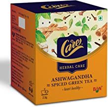 Care Ashwagandha Spiced Green Tea | Immunity Booster Herbal Tea | Detox Desi Kahwa Green Tea with Herbs Like Cinnamon, Tul...