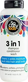 SoCozy 3-in-1 | Shampoo + Conditioner + Body Wash | For Kids Hair | Cleans and Adds Moisture Back | 10.5 fl oz | No Parabe...