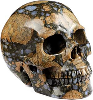 "Skullis 5.0"" Que Sera Stone Crystal Skull, Hand Carved Gemstone Fine Art Sculpture, Reiki Healing Stone Statue."
