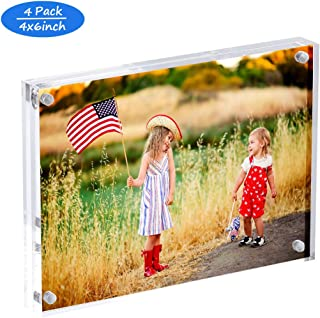 Clear 4x6 Acrylic Photos Frames 4 Pack,Double Sided Magnetic Acrylic Picture Frames 4 x 6 Frameless with Gift Box,12+12 mm Thick Free Standing in Desk or Tabletop
