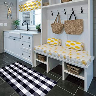 LGHome Buffalo Check Augs Black and Off White Cotton Area Rugs for Entry Way Front Door Area Mat Welcome Mat- 3x5FT