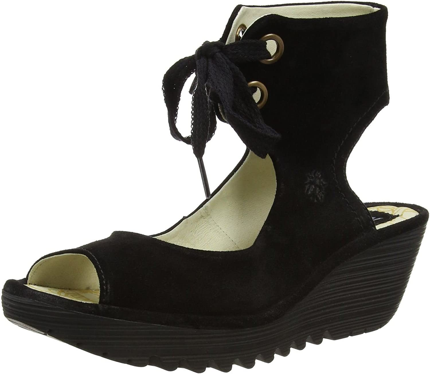 Fly London Yaffa Black Oil Suede Womens Wedge Sandals shoes