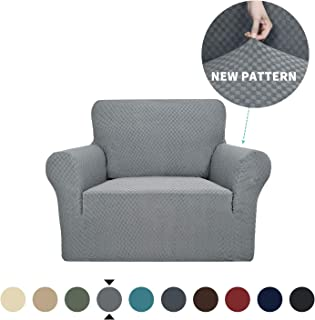 YEMYHOM Couch Cover Latest Jacquard Design High Stretch Sofa Chair Covers for Living Room, Pet Dog Cat Proof Armchair Slipcover Non Slip Magic Elastic Furniture Protector (Chair, Light Gray)