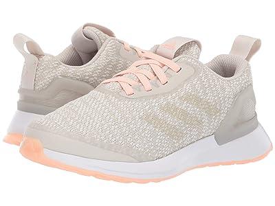 adidas Kids RapidaRun KNIT EL (Little Kid) (White/Clear Orange) Girls Shoes