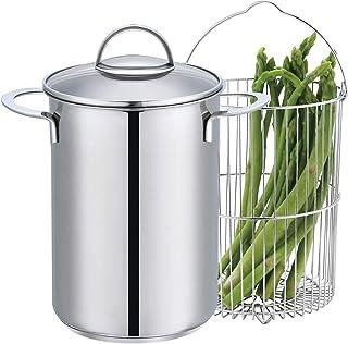 Eono by Amazon Cacerola para inducción de acero inoxidable de tres piezas para cocer espárragos y otras hortalizas con cesta y tapa, apta para horno y lavavajillas, 16cm, 4L, ASP-1622