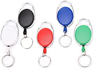 Fushing 5 Colors Retractable Badge Holder Carabiner Reels Key Holders Chains with Metal Split Ring