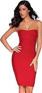 Women's Strapless Bandage Dress Cocktail Bodycon Dress