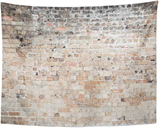 Emvency Tapestry Print Brown Vintage Red Old Weathered Exposed Brick Wall Concrete Distressed Wide White Home Decor Wall Hanging For Living Room Bedroom Dorm 60x80 Inches