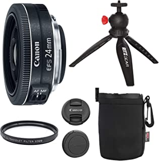 """Canon EF-S 24mm f/2.8 STM Lens, Camera Lens, 12"""" Table Top Tripod, Ritz Gear Small Protective Pouch and Accessory Bundle"""