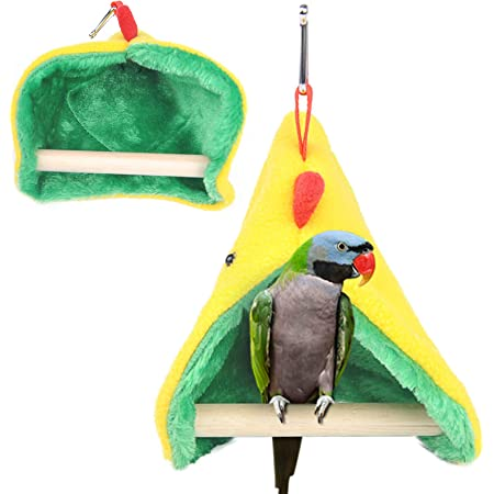 Parrot Cage Snuggle Hut Warm Bird Nest House Bed Hanging Hammock Toy for Parakeet Cockatiel African Grey Variety of  Parrots RYPET Cozy Corner Fleece Bird Blanket