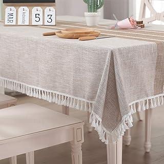 Vailge Nappe rectangulaire en lin - Lavable - Imperméable - Avec pompons - Pour la maison et la cuisine - Kaki - 140 x 180 cm