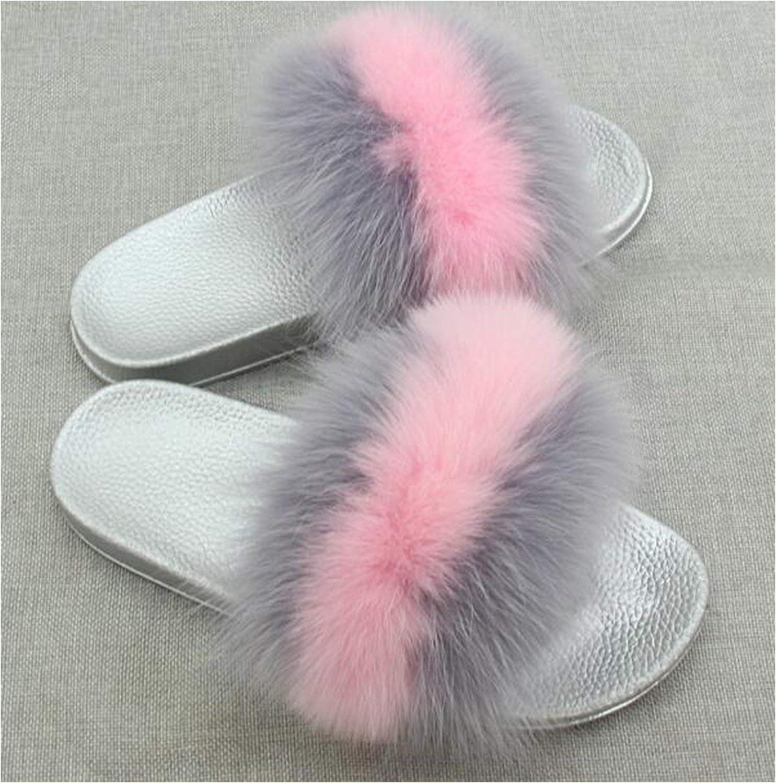 Leifun Women's Summer Flat Indoor Fox Fur Hair Slippers Fur Slides Beach Flip Flops Furry Slippers