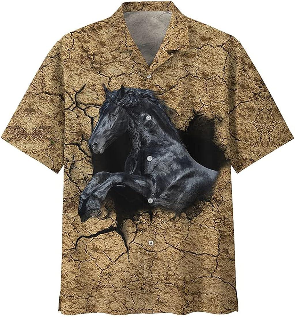 Horse Hawaiian Shirts for Men - Tropical Button Down Mens Hawaiian Shirts Short Sleeve Series 15