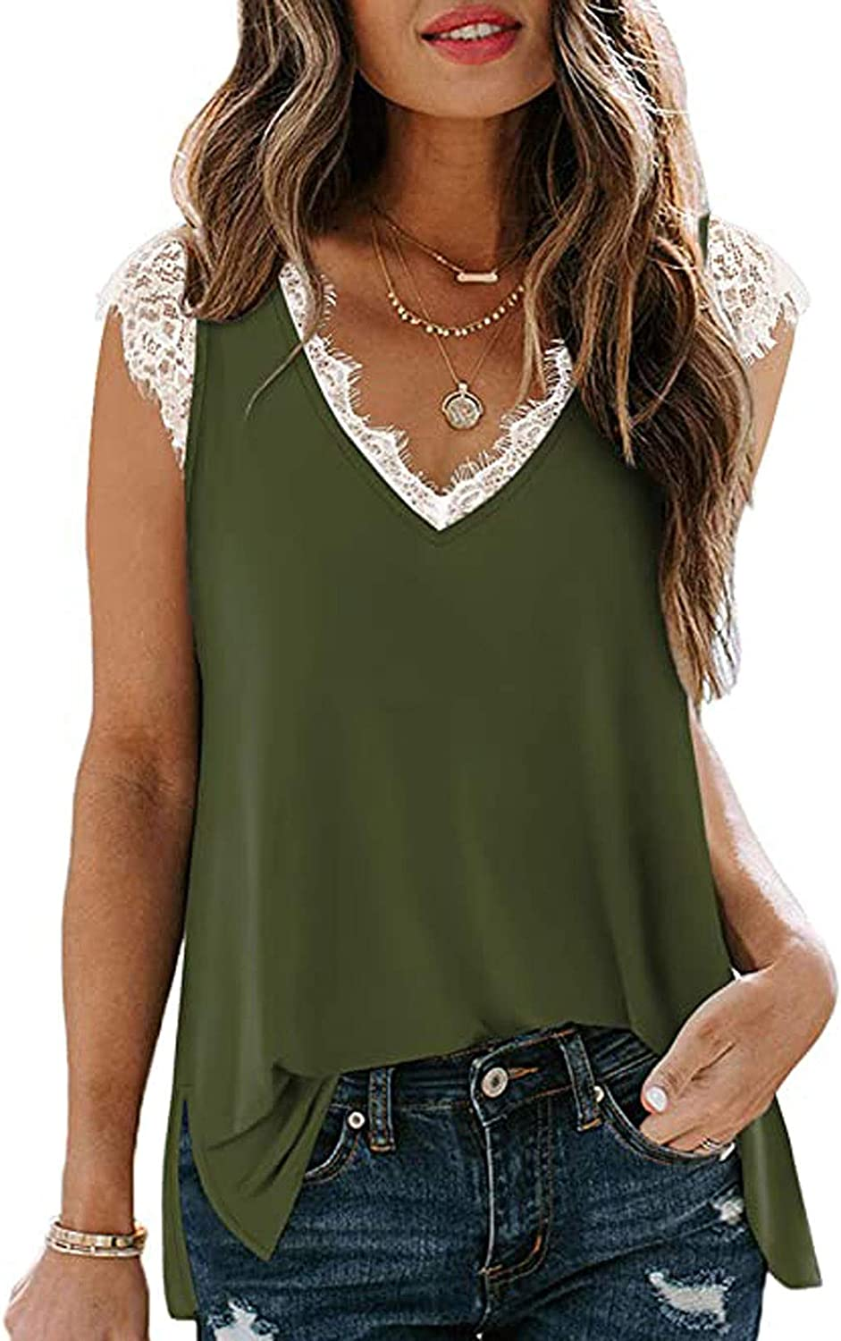 Lace Patchwork Tank Save money Tops Rapid rise for Women Vest Sof Size Silky Sexy Plus