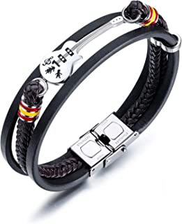 Mens Womens Leather Bracelet Guitar Handmade Braided Multi-Layer Wrap Bracelet, 8.26 inches