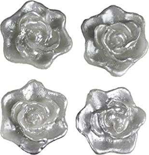 BalsaCircle 24 pcs Silver 2.5-Inch Roses Flowers Floating Candles for Wedding Party Birthday Centerpieces Decorations Supplies