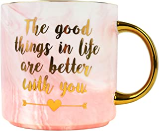 Best Love Mug – Gifts for Mothers Day Mom Sister Girlfriend Marble Ceramic Mugs – Better With You Coffee Cup 11 oz