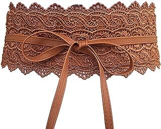 Women's Lace Waist Belt Bow Tie Wrap Around Soft Leather Boho Corset Fashion Elegant for Dresses