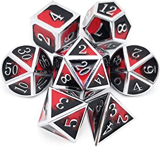 Haxtec Metal Dice Set D&D Silver Metal DND Dice for Dungeons and Dragons RPG Games-Silver Black Red