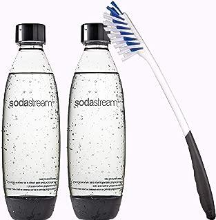Sodastream 2 Pack Black 1 Liter Soda Stream Bottles 1L 34oz. Bundle with Long Cleaning Brush | Fits Play Splash, Source, Power, Spirit, Fizzi Makers