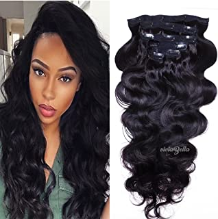 Full Head Clip in Hair Extensions Body Wave Human Hair Brazilian Virgin Hair Double Weft 7Pcs/lot 120g/set (16