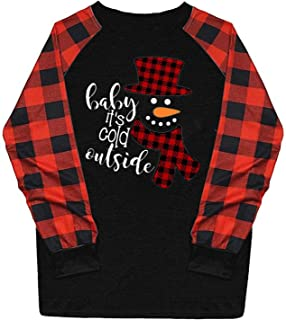 Fudule Christmas Shirts for Women Graphic Plaid Raglan...