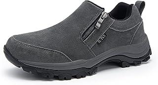 Men's Waterproof Hiking Shoes Lightweight Non-Slip Casual Loafers Slip-on Zipper Footwear Hiker Outdoor Breathable Low Top...