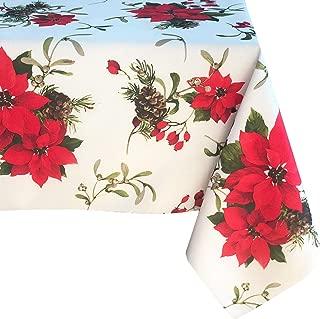 Newbridge Peaceful Poinsettia Allover Print Christmas Fabric Tablecloth, Holly Berry Xmas Print Cloth Tablecloth, 60 Inch x 120 Inch Oblong/Rectangle, Ivory