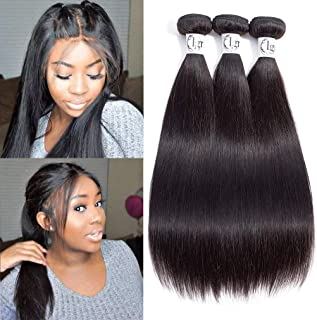 Igrina 8A Mink Brazilian Virgin Hair Straight 3 Bundles Deals Remy Human Hair Bundles Weave Straight Bundles Good Cheap Weave Wavy Human Hair Extensions 100g/piece Natural Color (16 18 20 inch)
