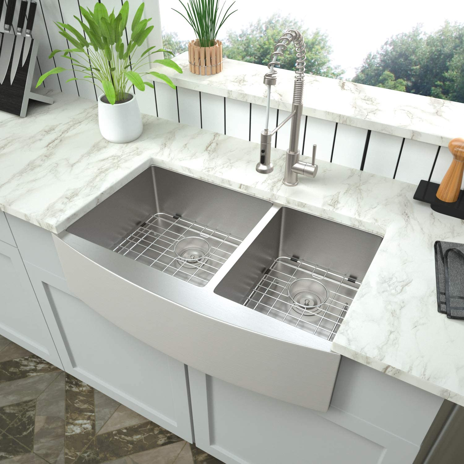 Buy Double Bowl Farmhouse Kitchen Sink Mocoloo 36x21 Inch Undermount Apron Front 60 40 Double Bowl Kitchen Sink 16 Gauge Stainless Steel Farm Style Offset Drain With Two 10 Deep Basin Online In Turkey B08qd89wlv