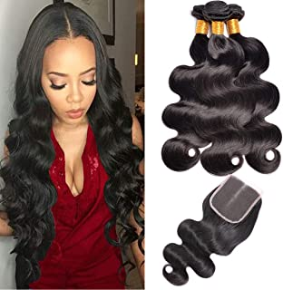 Ms Sunlight Hair Brazilian Virgin Body Wave Bundles with Middle Part Closure Remy Human Hair Bundles
