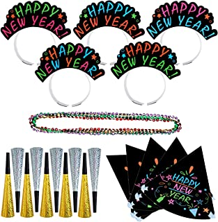 TINKSKY New Year's Eve Party Supply - 25 Pcs New Year Party Decorations,New Year Party Favors for Kids Adults ,New Year Headbands,Horns,Hats,Necklaces for Celebration New Year Christmas Party