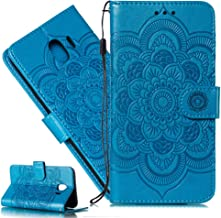 MRSTERUS Galaxy J4 Case,Wallet Phone Case with ID&Credit Card Pockets for Galaxy J4,Mandala Design,with Kickstand and Flip Case for Samsung Galaxy J4 2018 & J4 Mandala-Blue LD