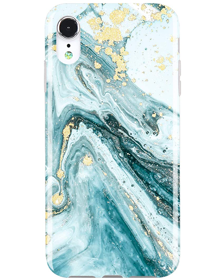 JIAXIUFEN Compatible iPhone Xr Case Gold Sparkle Glitter Blue Marble Slim Shockproof Flexible Bumper TPU Soft Case Rubber Silicone Cover Phone Case for iPhone XR