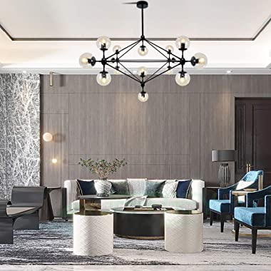 LAMPUNDIT 15 Light DNA Chandelier Black Finish with Globe Glass Shade Modern Large Chandeliers for Dining Room Living Room Be