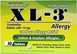 XL-3 Allergy Medicine | 24 Hour Relief from Seasonal Allergies, Non-Drowsy Allergy Medicine Relief from Sneezing, Runny Nose, or Itchy Eyes, Nose, and Throat; 10 Tablets