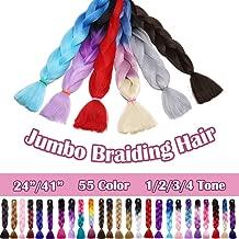 SEGO 24 Inch Ombre Jumbo Braiding Hair Kanekalon Jumbo Braid Hair Extensions African Long Jumbo Braids for Box Braids Crochet Hair High Temperature Fiber 3 Tone Colored Dark Blue/Pink/Blonde 1 Bundle