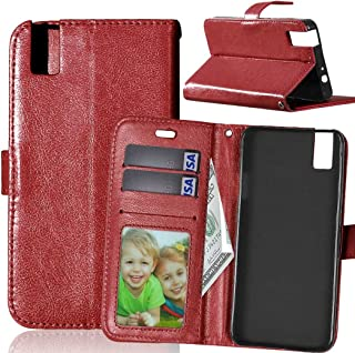 JUJIANFU-Phone Case for Huawei Honor 7i/for Huawei Shot X Solid Color Premium PU Leather Wallet Magnetic Buckle Design Flip Folio Protective Case Cover with Card Slot/Stand (Color : Brown)