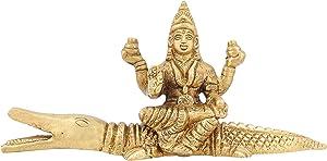 ShalinIndia Latón Estatua Lakshmi Diosa de Riqueza hindú Idol Diwali Puja 2,5Pulgadas, 235gr