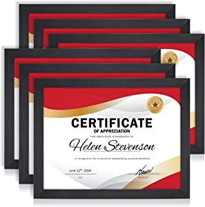 Icona Bay 8.5x11 Document Frame Pack (6 Pack, Black) 8.5 x 11 Certificate Frames, Tabletop and Wall Hang Hardware Included with Diploma Frames, Impresia Collection