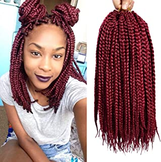 VRHOT 6Packs 12 inch Box Braids Crochet Hair Pre Looped Synthetic Hair Extensions Dreadlocks Burgundy Crochet Braids Braiding Hair Small 3S Braid for Black Women (12 inch, BG#)