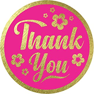 """Thank You Stickers Seals Labels (Pack of 120) 2"""" Large Round Gold Foil Stamping on Magenta for Cards Gift Envelopes Boxes"""