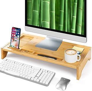 Amada Bambus Monitorständer mit Telefonkerben & Platz für Stifte für Heimbüro   Computer, Laptop, TV, Tablett, Drucker, Projektor… (Gold)