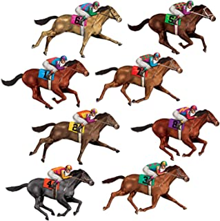 """Beistle 52087 Printed Race Horse Props, 29"""", 8 Pieces in Package"""