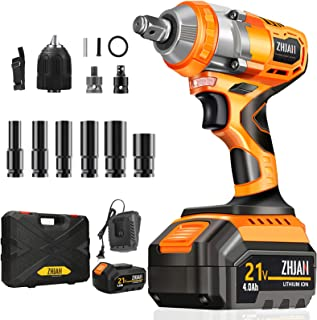 ZHJAN Cordless Impact Wrench,21V Impact Gun,320Nm Electric Wrench Driver,4A Lithium Battery and Fast Charger,Rated Impact ...