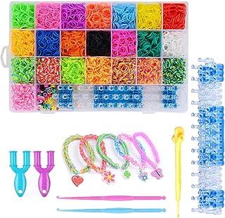 gomitas para pulseras,Loom Bands,Gomas para hacer pulseras,Caja Pulseras Gomas,Loom Kit para Pulseras,Kit de Pulseras de Goma (1)